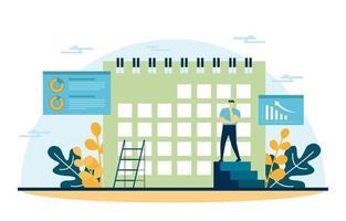 empresários trabalhando na estratégia de marketing digital com calendário e dados vetor