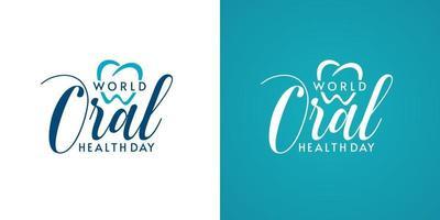 designs de logotipo tipográfico do dia mundial da saúde bucal vetor
