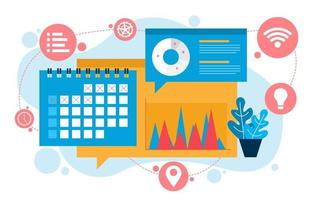 símbolos de marketing digital com gráficos de dados e calendário vetor