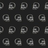 padrão de caveiras sem costura, ilustração vetorial de desenho de linha vetor