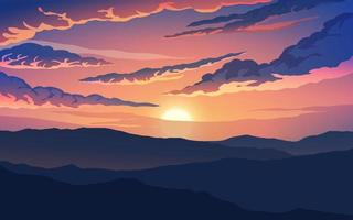 cena nublada do pôr do sol na montanha vetor