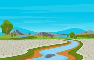 ilustração de arrozal pronto para colheita