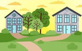 ilustração em vetor de casas de campo. bela paisagem de verão na aldeia, pôr do sol no campo. paisagem verde com chalés entre a floresta, árvores e arbustos.