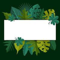 modelo de plano de fundo tropical com borda cheia de plantas grandes e folhas vetor