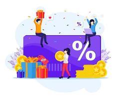 programa de marketing de fidelidade, as pessoas recebem uma caixa de presente, cartão de desconto e fidelidade, pontos de cartão de recompensa e ilustração vetorial plana de bônus vetor