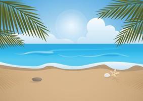 praia tropical e palmeiras, vista para o mar, ilustração vetorial vetor