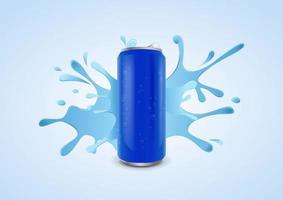 lata de refrigerante gelada azul com gotas de água no fundo de salpicos de água, ilustração vetorial vetor