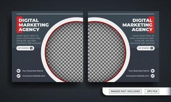 modelo de postagem de mídia social com tema de agência de marketing cinza vetor