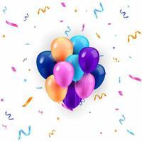balões coloridos e confetes isolados vetor