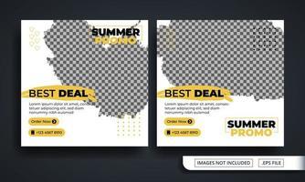 modelo de postagem em mídia social com tema promocional de verão vetor