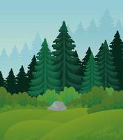paisagem com pinheiros vetor