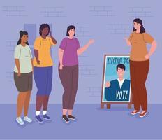 mulheres com faixa de candidato para o dia da eleição vetor