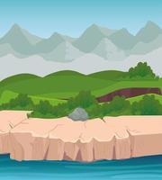 paisagem com montanhas e design de vetor de rio