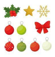 conjunto de ícones de feliz natal vetor