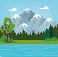 paisagem com montanhas, pinheiros e rio desenho vetorial vetor