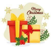 banner de feliz natal com presentes vetor