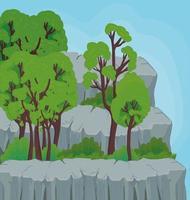 paisagem com árvores e rochas desenho vetorial vetor