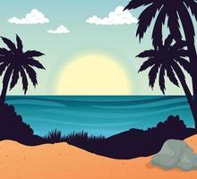 praia com palmeiras e desenho vetorial de mar vetor