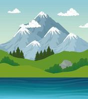 paisagem de montanhas, pinheiros e rio desenho vetorial vetor