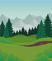 paisagem com pinheiros e montanhas vetor design