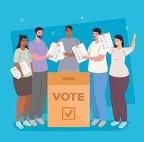 pessoas inter-raciais votando vetor