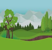 paisagem com árvores e arbustos na frente de montanhas desenho vetorial vetor