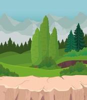 paisagem com pinheiros e arbustos na frente de montanhas desenho vetorial vetor