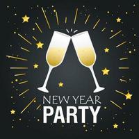 banner de feliz ano novo com desenho vetorial de taças de champanhe vetor