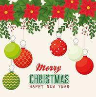banner de feliz natal e feliz ano novo com enfeites vetor