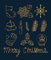 conjunto de ícones de ouro de Natal feliz vetor