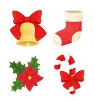 conjunto de ícones de feliz natal desenho vetorial vetor
