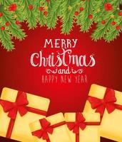 banner de feliz natal e feliz ano novo com presentes vetor
