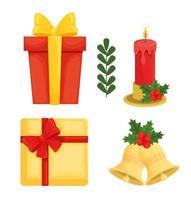 desenho de vetor de coleção de ícones de feliz natal