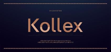 elegante alfabeto letras fonte e número. letras de cobre clássicas designs de moda mínimos. fontes de tipografia regulares em maiúsculas e minúsculas. ilustração vetorial vetor