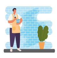 homem pintando um desenho vetorial de parede vetor