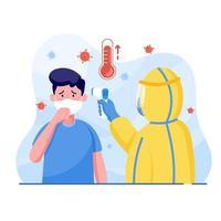 homem usando roupas de proteção mede o homem tem sintomas de temperatura de tosse para proteger o coronavírus. world corona virus e covid-19 surto e conceito de ataque pandêmico. vetor