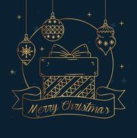 banner de feliz natal e feliz ano novo com presente vetor