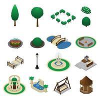 elementos construtores de design de paisagem isométrica