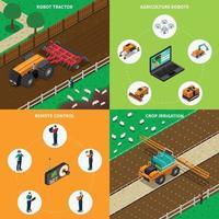 agricultura robô tecnologia moderna isométrica 2x2 vetor