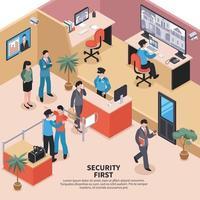 ilustração isométrica de controle do sistema de segurança vetor