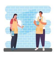 mulher e homem pintando um desenho vetorial de parede vetor