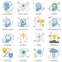 ícones lisos do conceito mental vetor