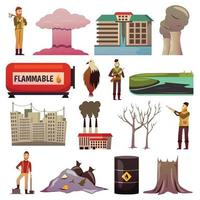 ícones ortogonais de desastres causados pelo homem vetor