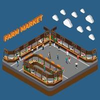 fazenda mercado local composição isométrica vetor