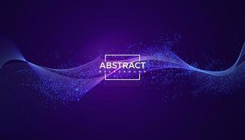 Absract dinâmica onda partícula cor azul desenho vetorial vetor