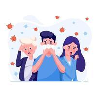 as pessoas apresentam sintomas, incluindo tosse, febre e tonturas em um estilo plano. conceito de design de ilustração de cuidados de saúde e médicos. vírus corona mundial e conceito de ataque covid-19. vetor