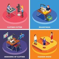 fábrica de roupas costura isométrica 2x2 vetor