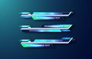interface de vetor de design futurista barras de terceiro banner inferior. transmissão de vídeo. quebrando, notícias de esporte.