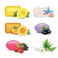 sabonetes e frutas realistas vetor