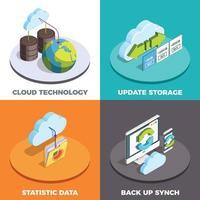 conceito isométrico de serviços em nuvem 2x2